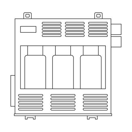 Transformer electric vector outline icon. Vector illustration elctric station on white background. Isolated outline illustration icon of transformer power.