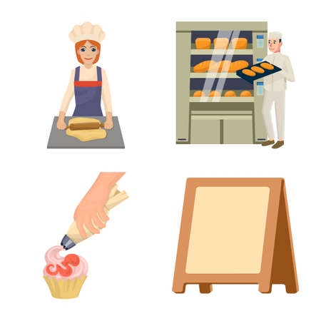 Vector illustration of bakery and natural icon. Collection of bakery and utensils stock symbol for web. Illustration
