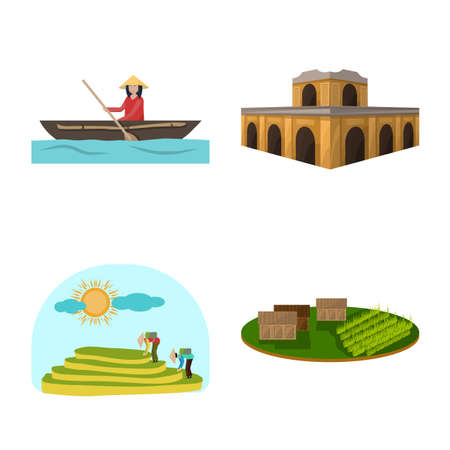 Vector illustration of travel and country symbol. Set of travel and culture stock vector illustration. Illustration
