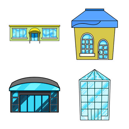 Vector illustration of supermarket and building icon. Set of supermarket and city stock vector illustration. Illustration