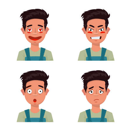 Isolated object of face and boy sign. Collection of face and young vector icon for stock. Illustration