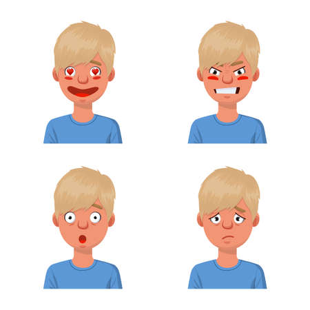 Vector illustration of face and boy symbol. Set of face and young stock symbol for web.