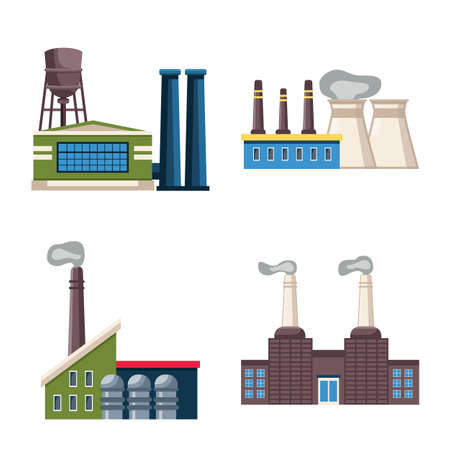 Isolated object of industry and plant icon. Collection of industry and construction stock symbol for web. Illustration