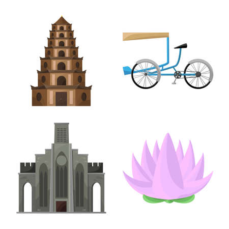 Isolated object of travel and country icon. Collection of travel and culture stock symbol for web. Illustration