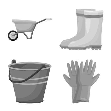 Isolated object of garden and horticulture icon. Set of garden and farm vector icon for stock. Vetores