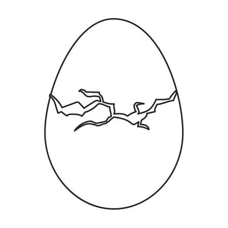 Egg chicken vector outline icon. Vector illustration farm food on white background. Isolated outline illustration icon of egg chicken. Иллюстрация