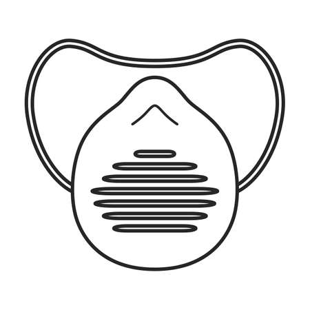 Mask medical vector outline icon. Vector illustration mask medical on white background. Isolated outline illustration icon of pr.otection fase. Иллюстрация