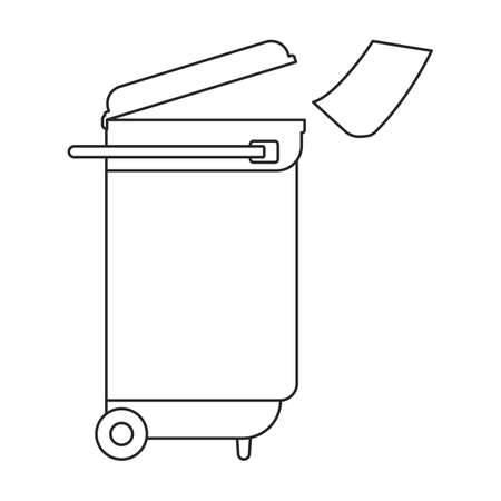 Can trash vector outline icon. Vector illustration can trash on white background. Isolated outline illustration icon of garbage basket. Иллюстрация