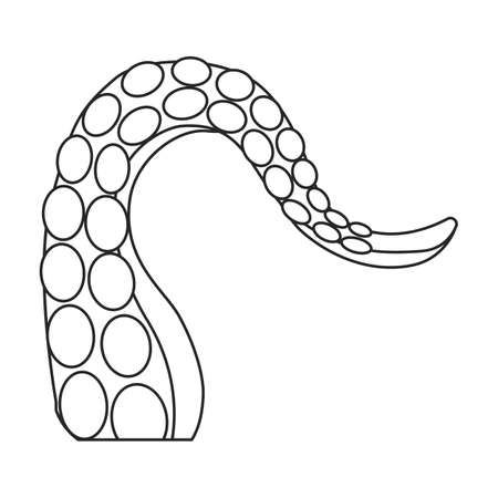 Octopus tentacle vector outline icon. Vector illustration seafood on white background. Isolated outline illustration icon of octopus tentacle.