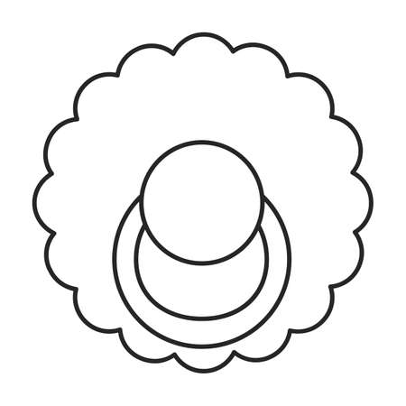 Dummy pacifier vector outline icon. Vector illustration baby nipple on white background. Isolated outline illustration icon of baby dummy pacifier. Иллюстрация