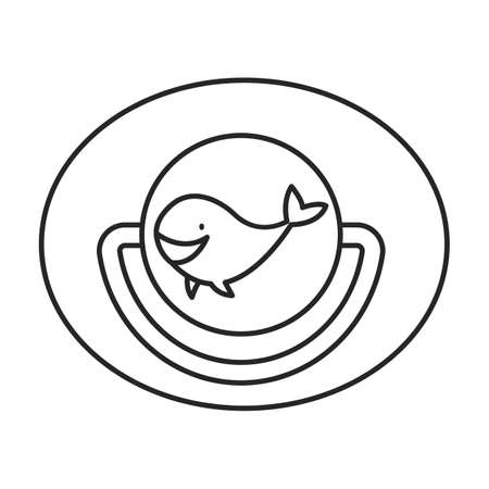 Dummy pacifier vector outline icon. Vector illustration baby nipple on white background. Isolated outline illustration icon of baby dummy pacifier. Illustration