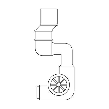 Air system vector outline icon. Vector illustration system ventilation, on white background. Isolated outline illustration icon of air ventilation.