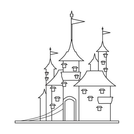 Castle tower vector outline icon. Vector illustration castle tower on white background. Isolated outline illustration icon of kingdom house.