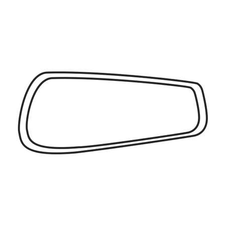 Mirror rear view car, vector outline icon. Vector illustration auto rearview on white background. Isolated outline illustration icon of mirror rear view.