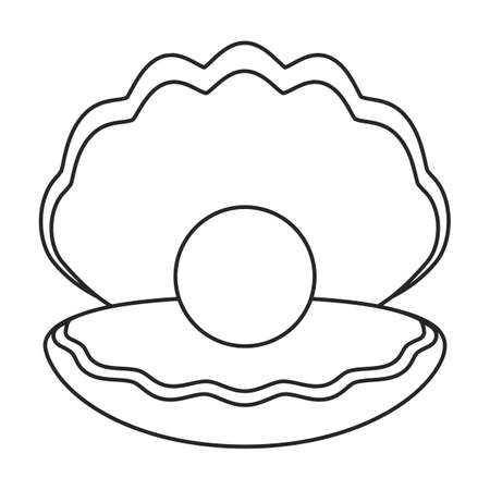 Pearl shell vector outline icon. Vector illustration pearl shell on white background. Isolated outline illustration icon of seashell Illustration