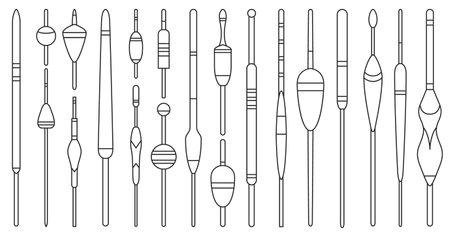 Floats vector outline icon. Isolated outline set icon bobber for fishing.Vector illustration floats on white background . Vektorové ilustrace