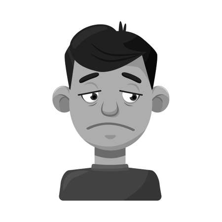 Vector illustration of guy and sad sign. Collection of guy and person stock vector illustration. Illustration