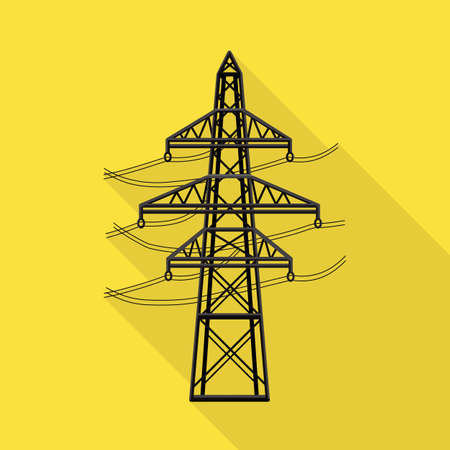 Vector illustration of pillar and energetic symbol. Graphic of pillar and station stock symbol for web.