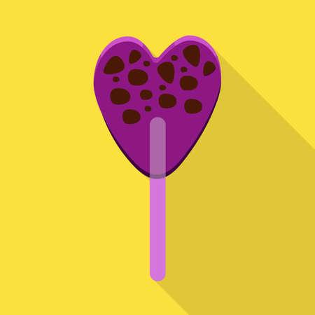 Vector design of lollipop and stick sign. Web element of lollipop and heart vector icon for stock. Illustration