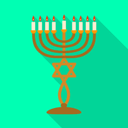 Isolated object of menorah and star. Graphic of menorah and bright vector icon for stock. Illustration