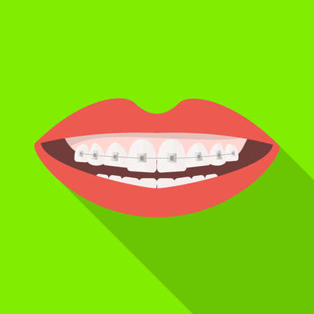 Vector illustration of mouth and teeth icon. Graphic of mouth and braces stock symbol for web. Illustration