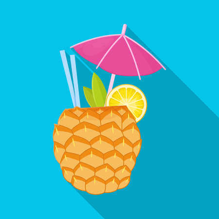 Isolated object of cocktail and umbrella. Web element of cocktail and ananas stock symbol for web. Illustration