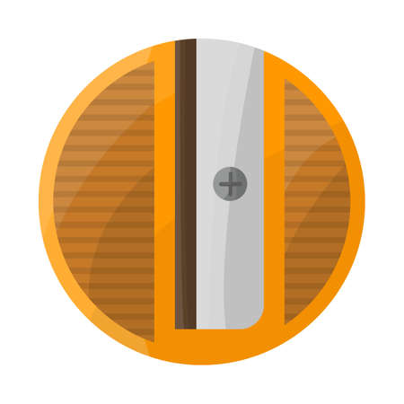 Vector illustration of sharpener and round. Web element of sharpener and yellow stock symbol for web.
