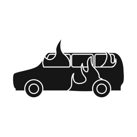 Vector illustration of car and burn sign. Set of car and ruined vector icon for stock. Illustration