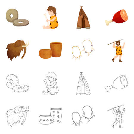 Vector illustration of evolution and neolithic icon. Collection of evolution and primeval stock vector illustration.