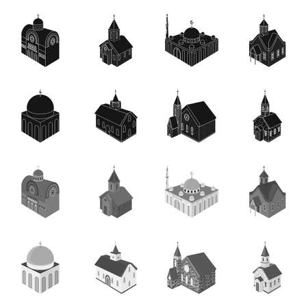 Isolated object of temple and historic. Set of temple and faith vector icon for stock. Illustration