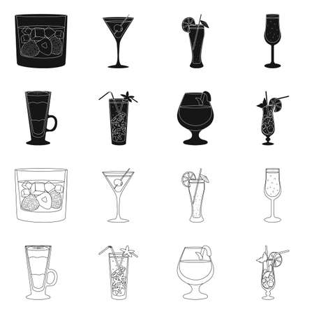 Vector illustration of liquor and restaurant icon. Collection of liquor and ingredient stock vector illustration.