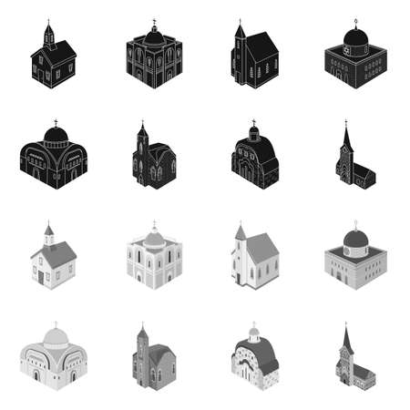 Isolated object of temple and historic sign. Collection of temple and faith vector icon for stock. Illustration