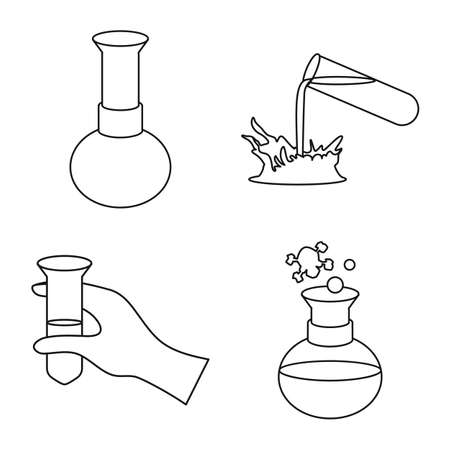 Vector design of experiment and chemistry symbol. Collection of experiment and laboratory vector icon for stock. Illustration