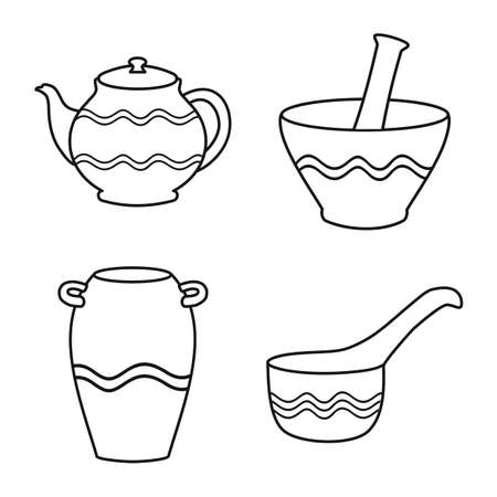 Vector illustration of ware and tableware symbol. Set of ware and clayware stock symbol for web.