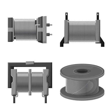 Vector illustration of spiral and pressure icon. Set of spiral and compression stock vector illustration. Illustration