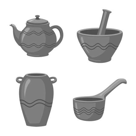 Vector design of clayware and kitchen. Collection of clayware and pottery stock vector illustration.