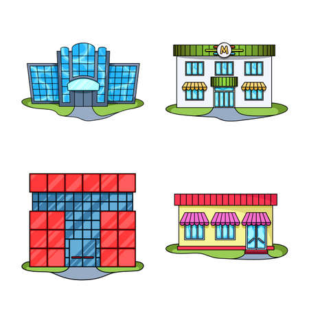 Isolated object of supermarket and building symbol. Set of supermarket and city stock vector illustration.