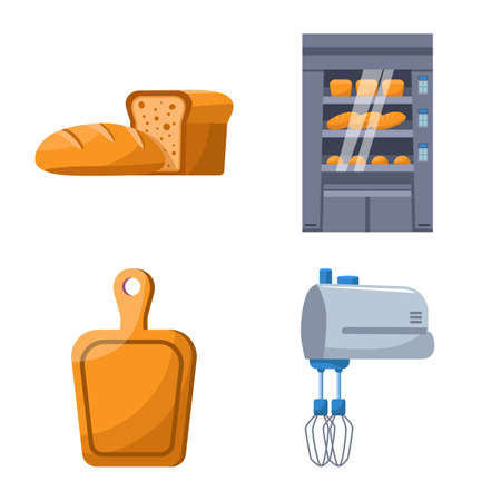 Isolated object of bakery and natural symbol. Set of bakery and utensils vector icon for stock. Illustration