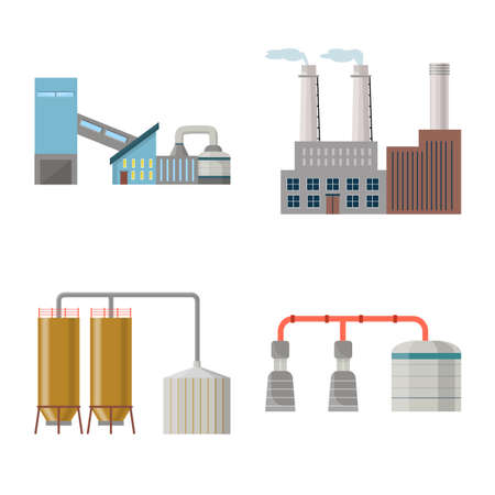 Vector design of factory and industry. Set of factory and architecture vector icon for stock. Illustration