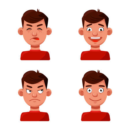 Vector design of face and boy icon. Set of face and young stock vector illustration.