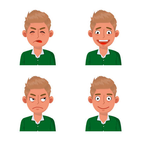 Isolated object of face and boy icon. Collection of face and young stock symbol for web. Illustration