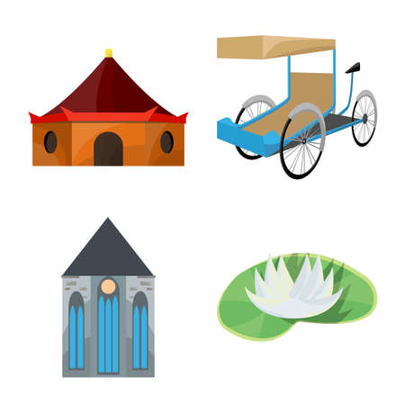 Isolated object of travel and country. Collection of travel and culture vector icon for stock.