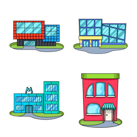 Vector design of supermarket and building symbol. Set of supermarket and city stock vector illustration.