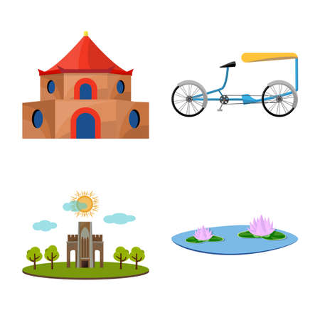 Vector design of travel and country icon. Set of travel and culture vector icon for stock.