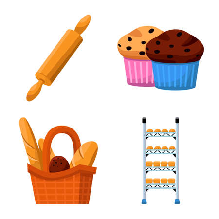 Vector design of bakery and natural icon. Set of bakery and utensils stock vector illustration.