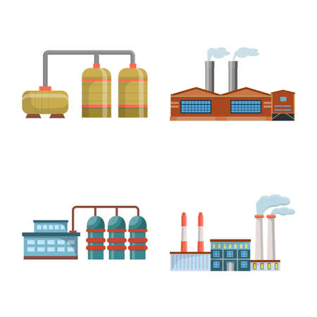 Vector illustration of factory and industry. Set of factory and architecture stock symbol for web.