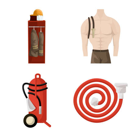 Isolated object of firefighters and fire icon. Collection of firefighters and equipment vector icon for stock. Illustration
