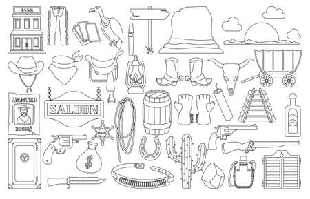 Wild west vector outline set icon. Vector illustration western on white background . Isolated outline set icon wild west. Vetores