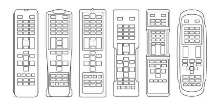 TV remote isolated outline set icon. Television control vector outline icon. Vector illustration TV remote on white background.