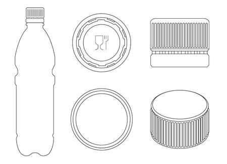 Plastic cork vector outline set icon. Vector illustration bottle of cap on white background. Isolated outline set icon plastic cork .
